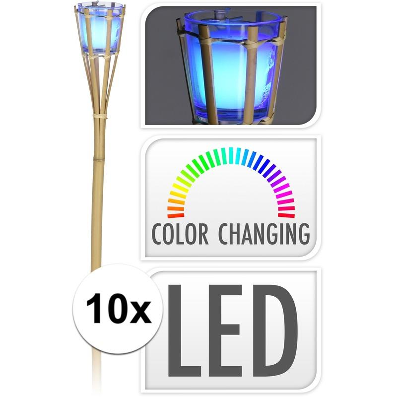 Afbeelding 10x Citronella kaars fakkel met LED verlichting 76 cm door Animals Giftshop