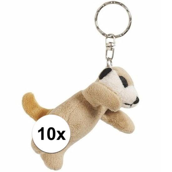 10x Pluche sleutelhanger stokstaartjes knuffel 6 cm
