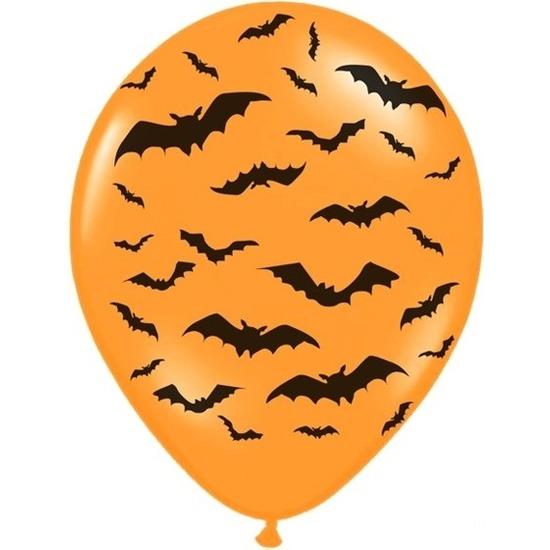 12x Mat oranje ballonnen met zwarte vleermuis print 30 cm Halloween feest/party versiering