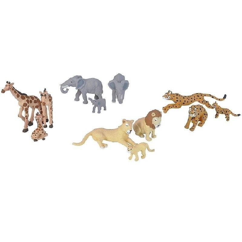 12x Plastic safari dieren familie speelfiguren
