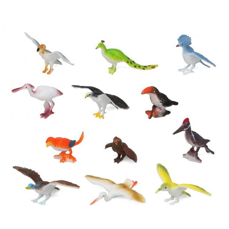12x Plastic vogeltjes speelgoed figuren voor kinderen