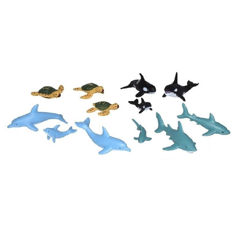 12x Plastic zeedieren/oceaan dieren famile speelfiguren