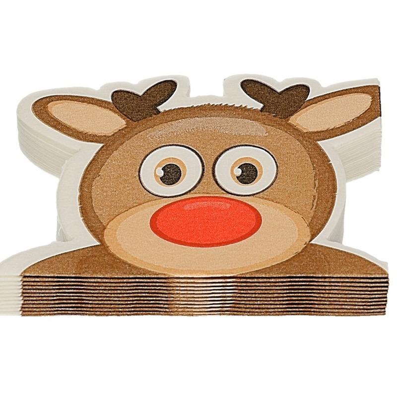 12x Rudolph het rendiertje Kerst servetten rood 33 cm