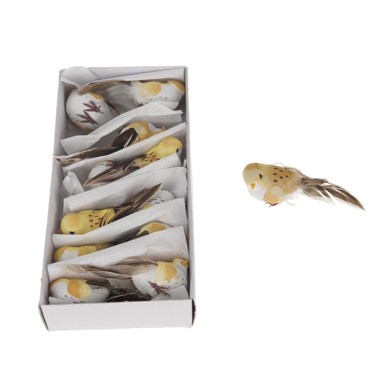 Afbeelding 12x Vogels op clip geel 10 cm door Animals Giftshop