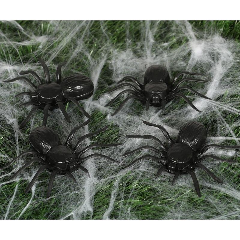 16x Plastic horror spinnen 10 cm Halloween decoratie