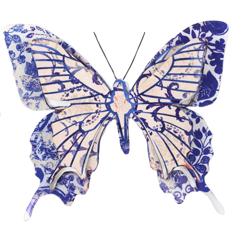 1x Blauw/creme witte metalen tuindecoratie vlinder 31 cm