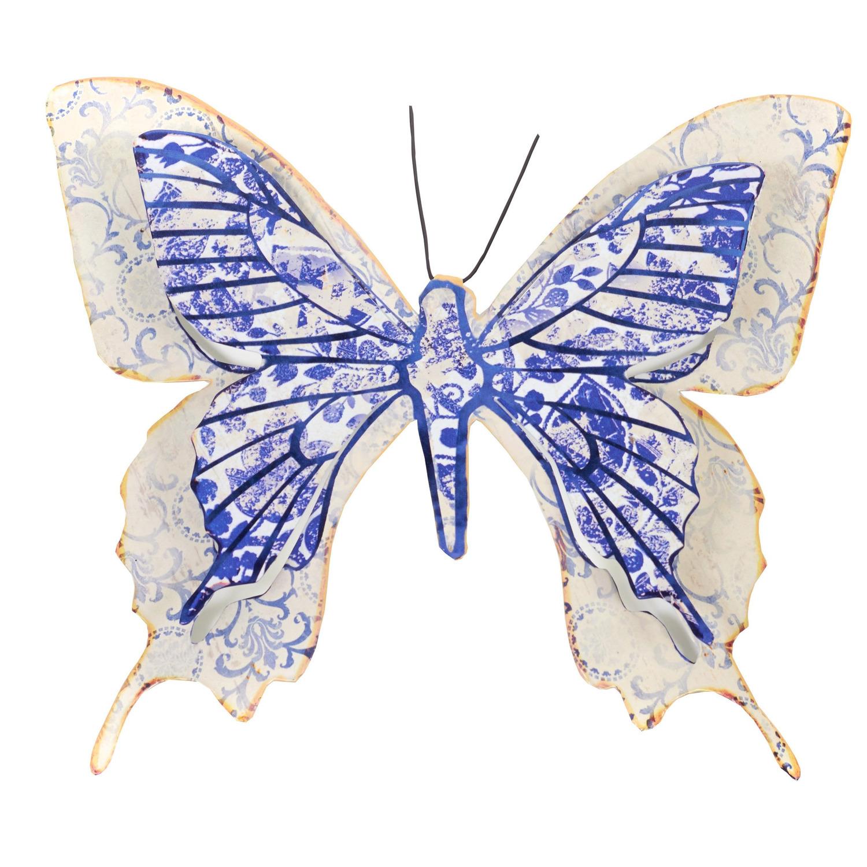 1x Blauw/witte metalen tuindecoratie vlinder 31 cm