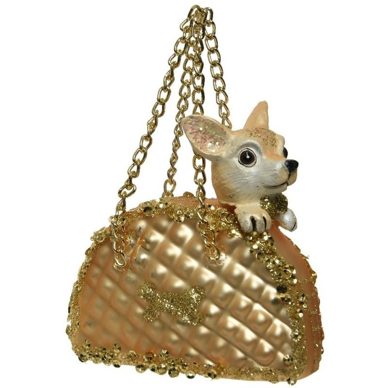 1x Chihuahua in gouden handtas kerstornamenten kersthangers 9 cm