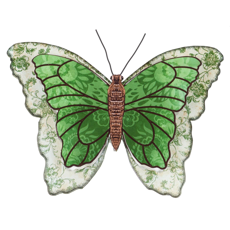 1x Groen/wit metalen tuindecoratie vlinder 31 cm