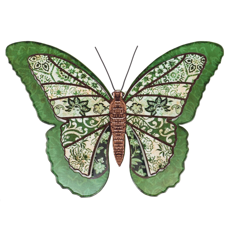 1x Groene metalen tuindecoratie vlinder 31 cm