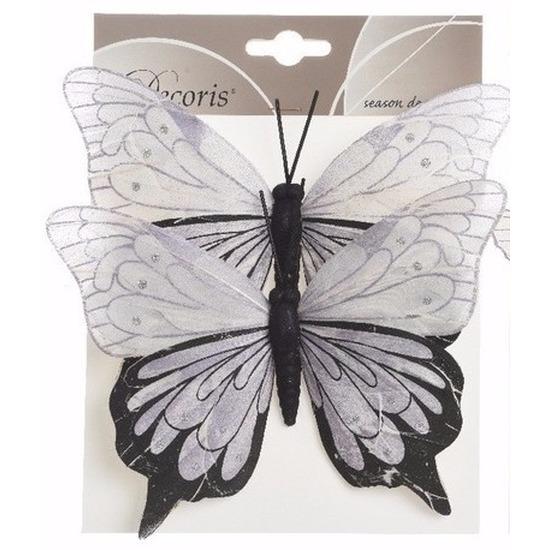 1x Kerstversieringen vlinders op clip lila/zwart 23 cm