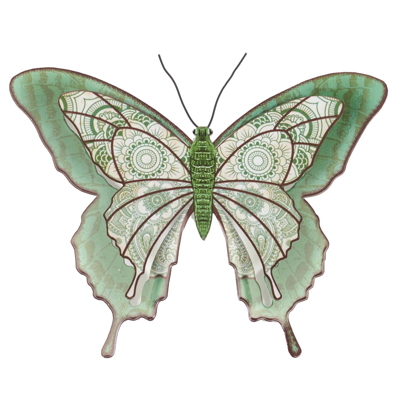 1x Lichtgroene metalen tuindecoratie vlinder 31 cm