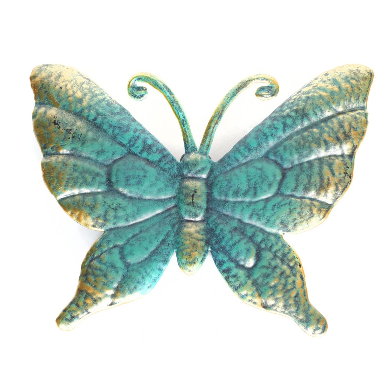1x Turquoise/goud metalen tuindecoratie vlinder 22 cm