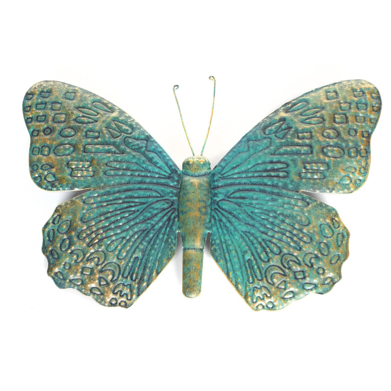 1x Turquoise/goud metalen tuindecoratie vlinder 31 cm