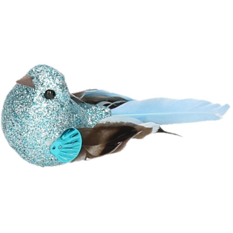 1x Vogel op clip blauw 10 cm