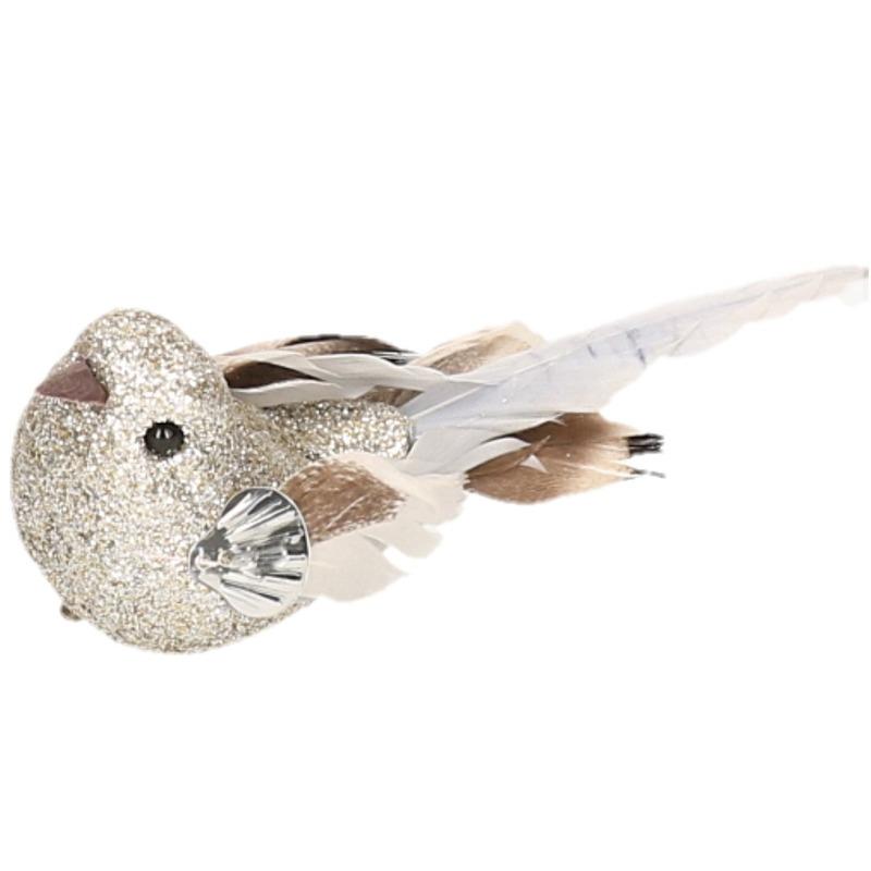 1x Vogel op clip zilver 10 cm