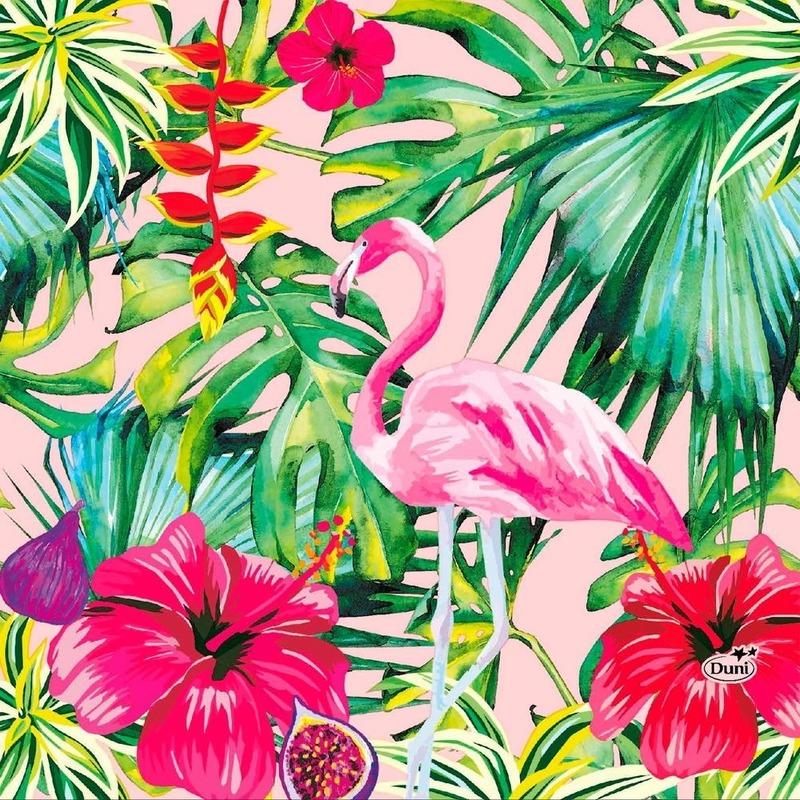 20x Zomerse Bbq servetten 33 x 33 cm roze/groen met tropische print