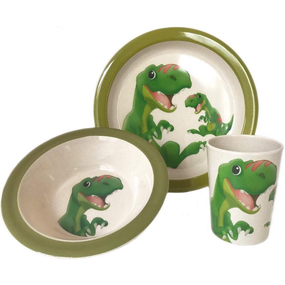 2x 3-delige ontbijtsets bord/kom/beker met dinosaurus opdruk wit/groen melamine voor kinderen