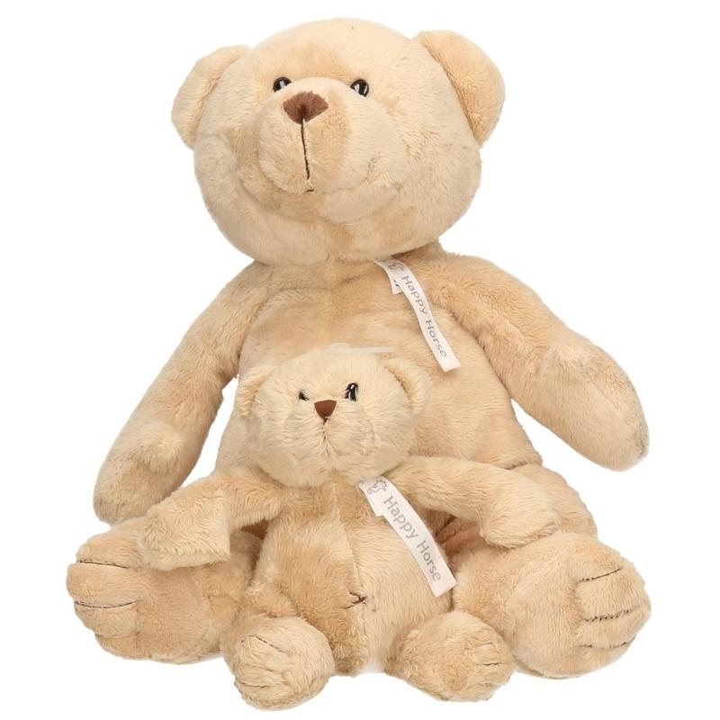 2x Beige Happy Horse moeder en kind beren knuffels Buster 40 en 23 cm knuffeldieren
