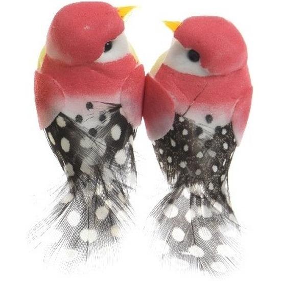 2x Decoratie vogeltje fuchsia roze 6 cm op ijzerdraad met echte veren