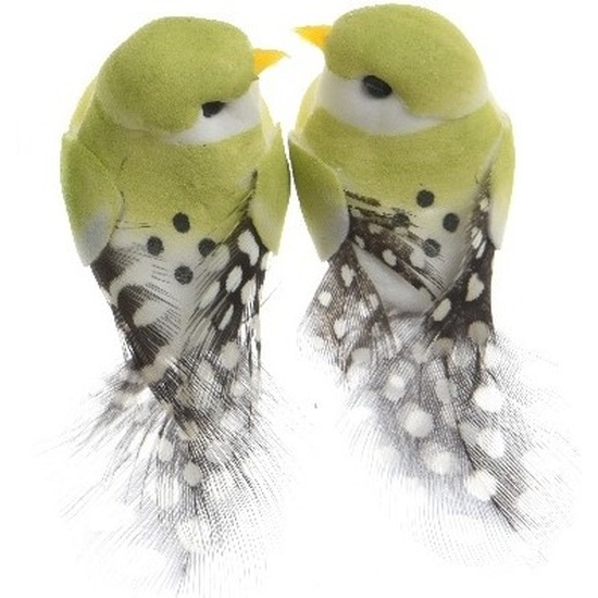 2x Decoratie vogeltje lichtgroen 6 cm op ijzerdraad met echte veren