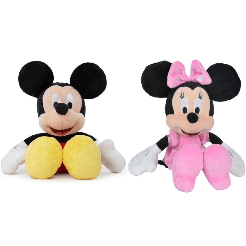 2x Disney Mickey/Minnie Mouse knuffels 25 cm knuffeldieren