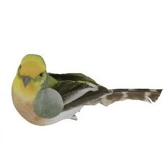 2x Gekleurde vogel op clip 9 cm