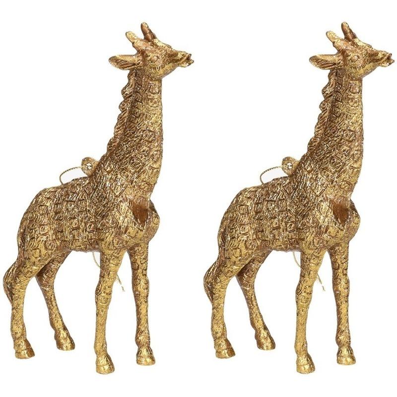 2x Gouden giraf kerstornamenten kersthangers 8 cm