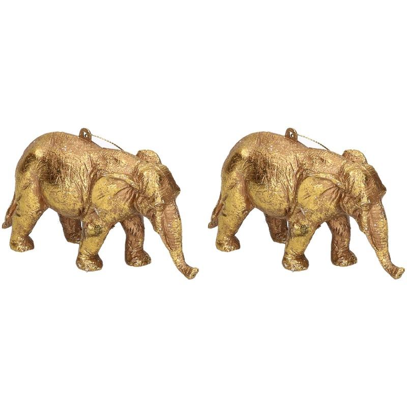 2x Gouden olifant kerstornamenten kersthangers 12 cm