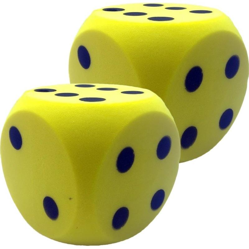 2x Grote schuimrubberen dobbelstenen geel 16 cm