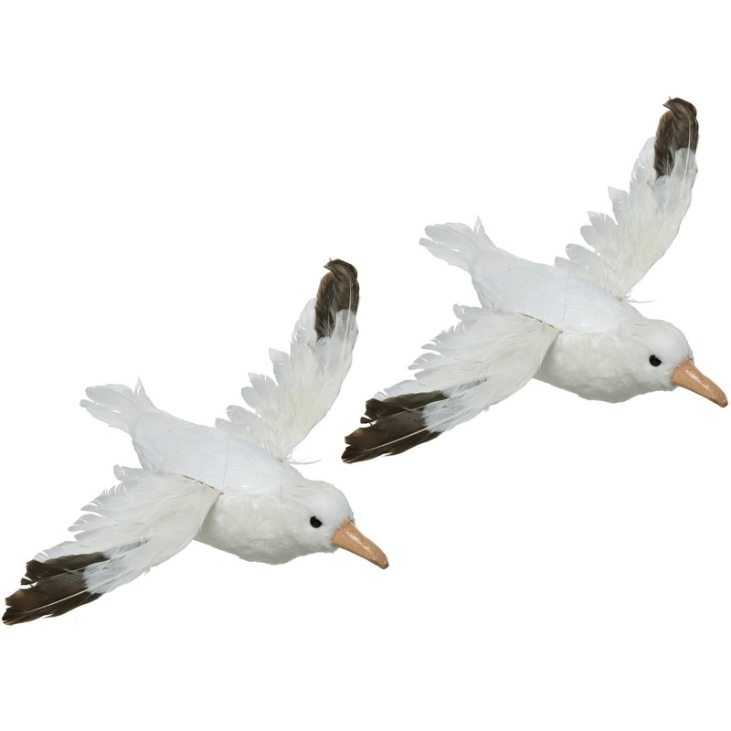 2x Maritieme woondecoratie beeld vliegende meeuw vogel 34 cm
