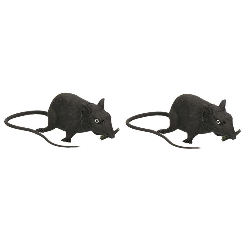 2x Piepende ratten halloween decoratie 13 cm