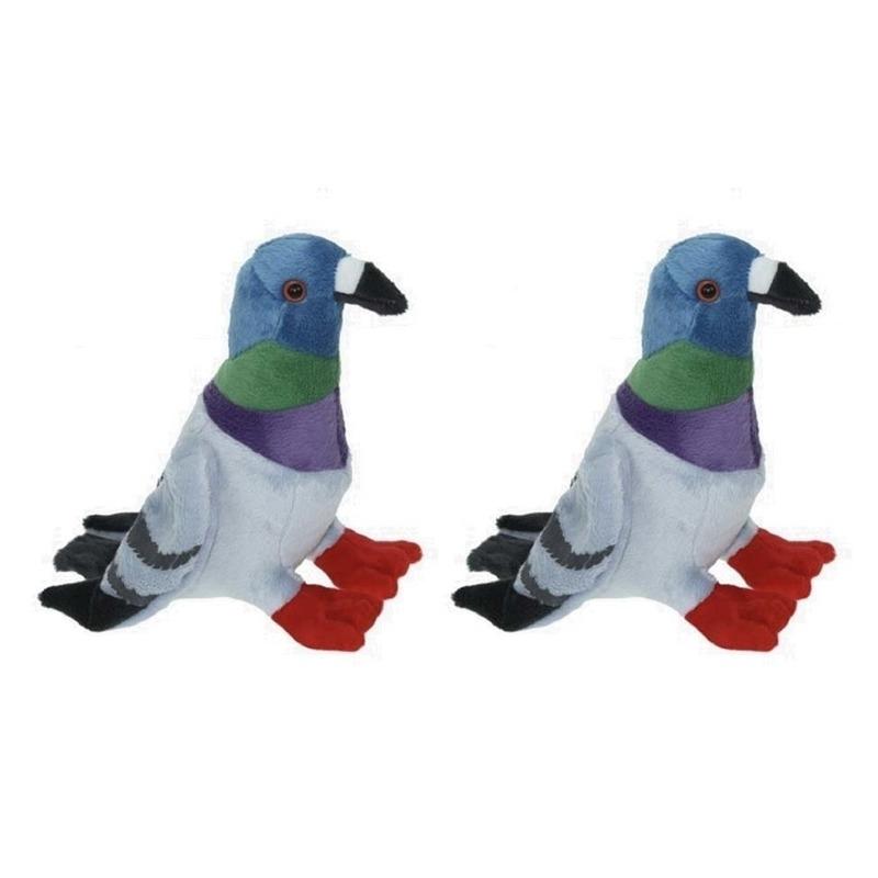 2x Pluche duif/duiven knuffels 19 cm knuffeldieren