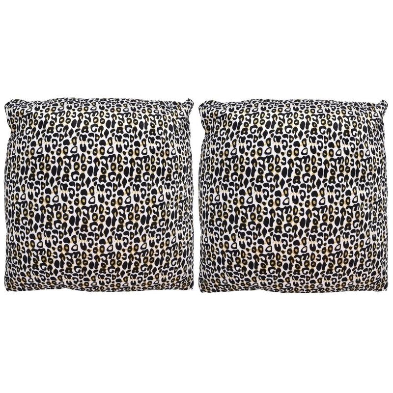2x Sierkussentjes met cheetah print 45 cm