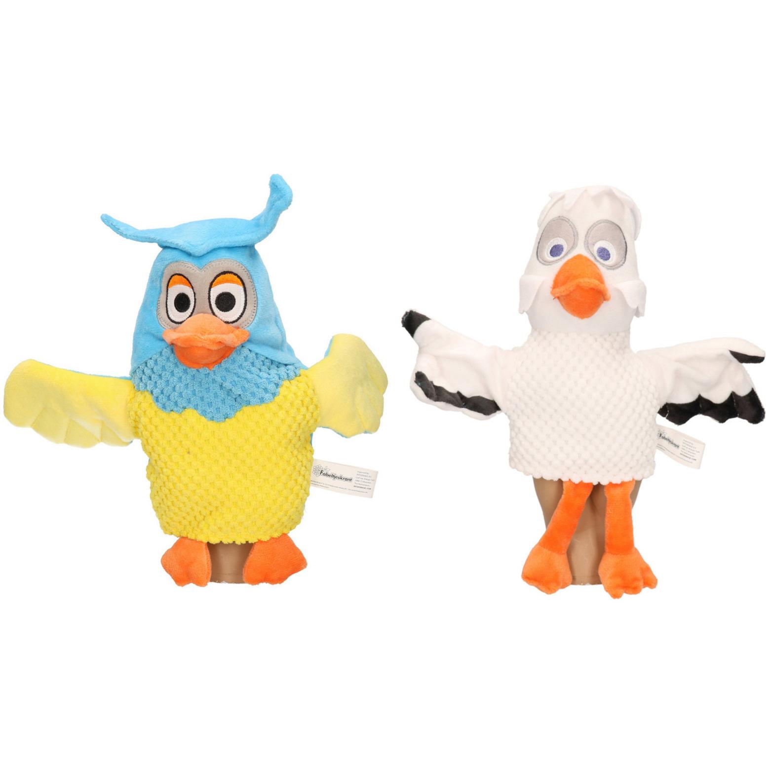 2x Uilen/ooievaars handpoppen knuffels 25 cm Fabeltjeskrant Meneer de Uil en Mevrouw Ooievaar knuffeldieren