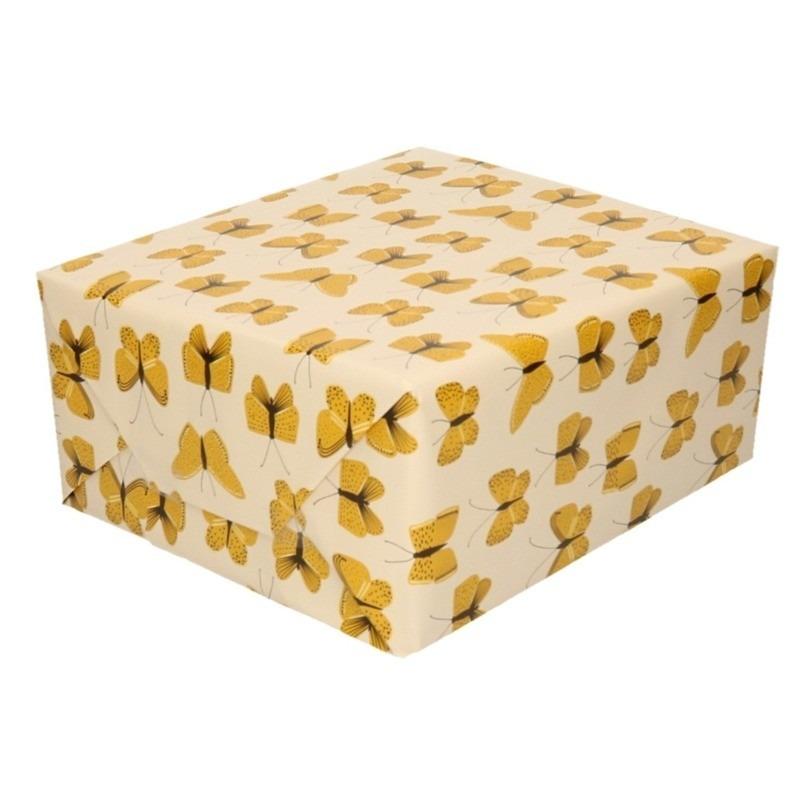 2x Verjaardag kadopapier beige/geel vlinders 200 x 70 cm voor kinderen