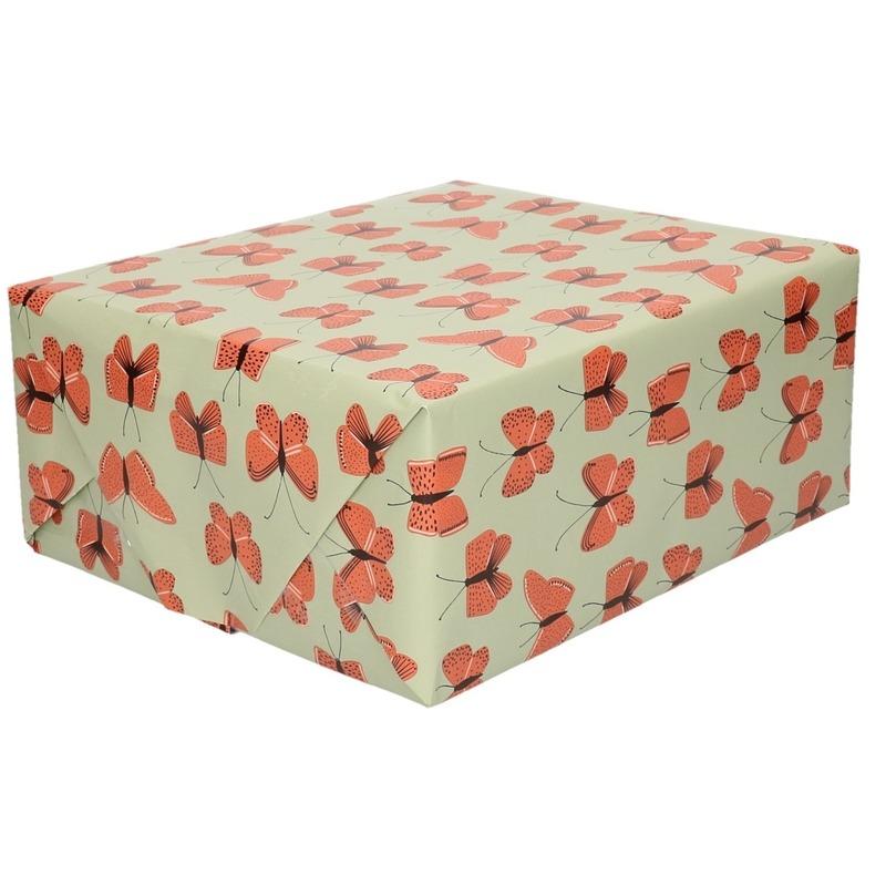 2x Verjaardag kadopapier groen/rood vlinders 200 x 70 cm voor kinderen