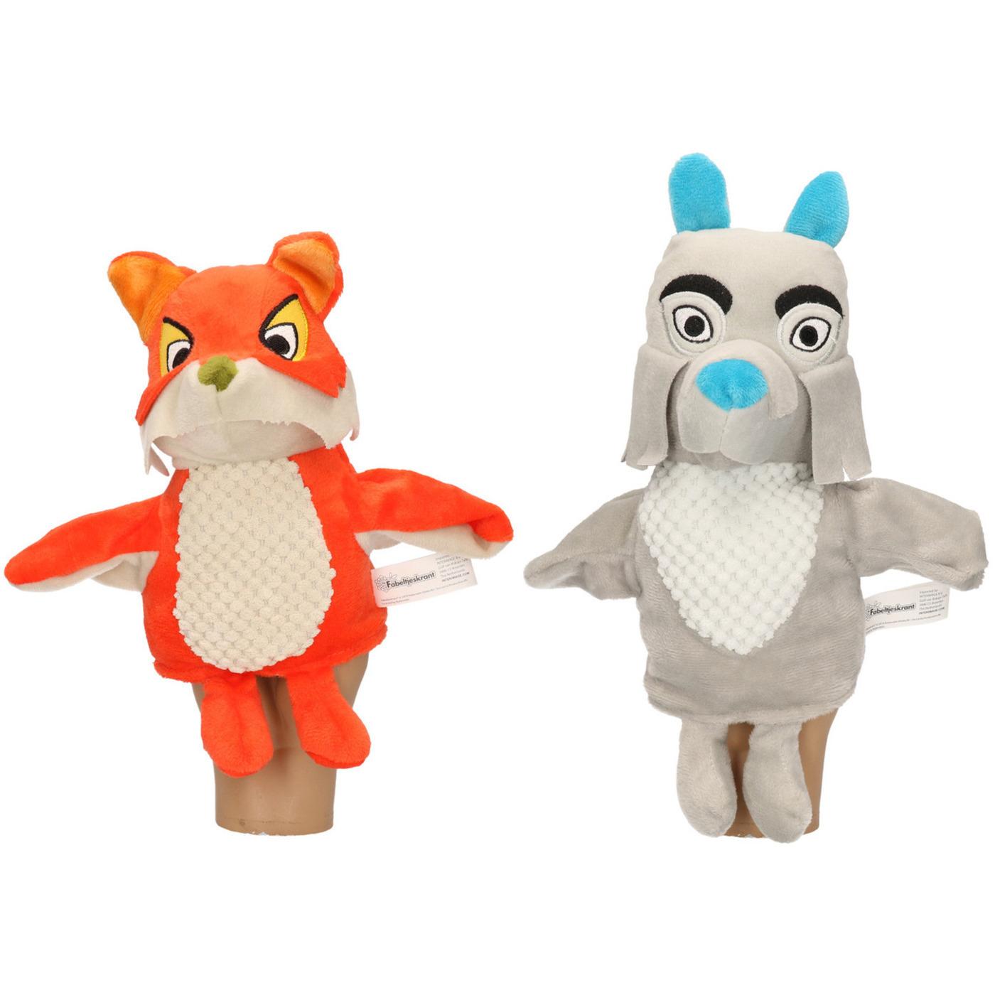 2x Vossen/wolven handpoppen knuffels 25 cm Fabeltjeskrant Lowieke de Vos en Mevrouw Ooievaar knuffeldieren