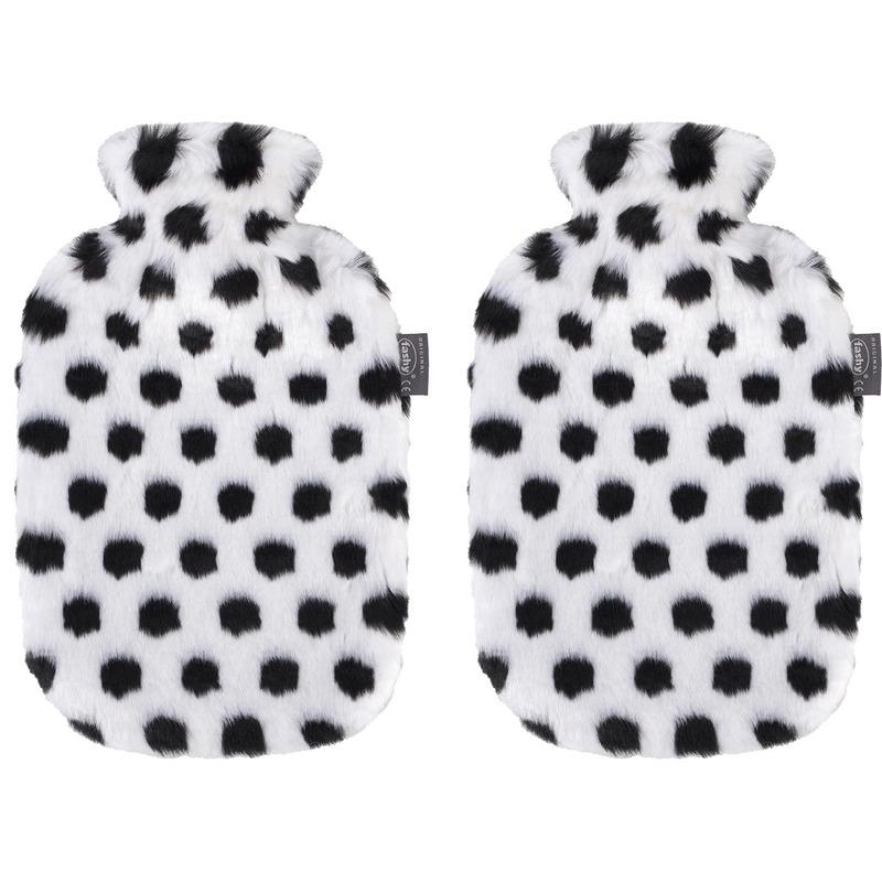 2x Warmwaterkruik zwart/wit met namaak zebra bonten kruikenhoes 2 liter