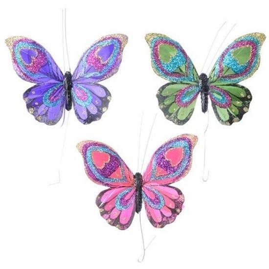 Afbeelding 3 stuks Decoratie vlindertje paars groen en roze 9 cm van echte veren door Animals Giftshop