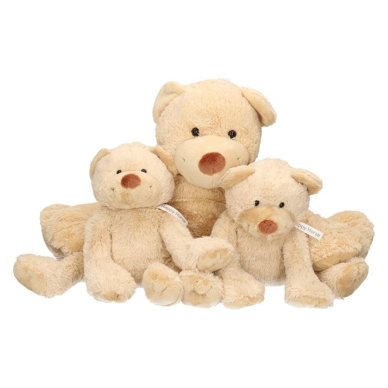 3x Beige Happy Horse moeder en kind beren knuffels Boogy 35 en 24 cm knuffeldieren