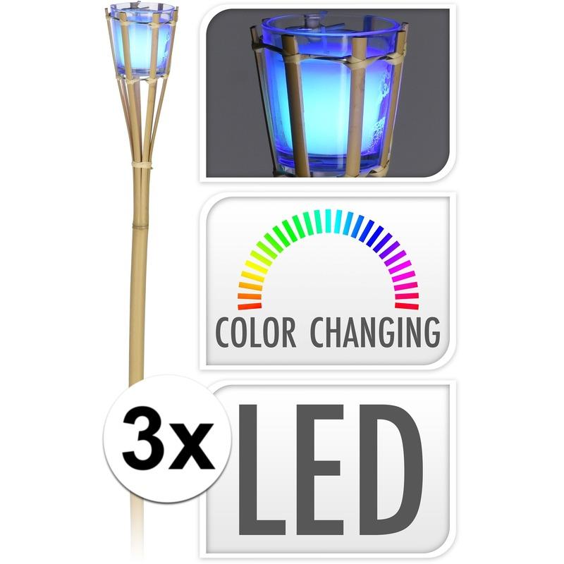 Afbeelding 3x Citronella kaars fakkel met LED verlichting 76 cm door Animals Giftshop