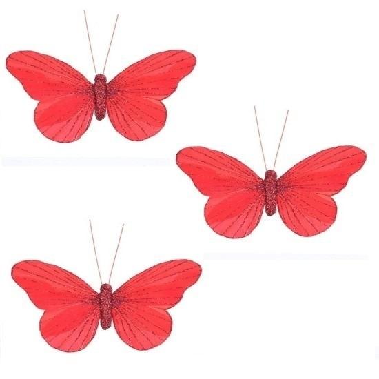 3x Decoratie vlinders op clip rood 11 cm