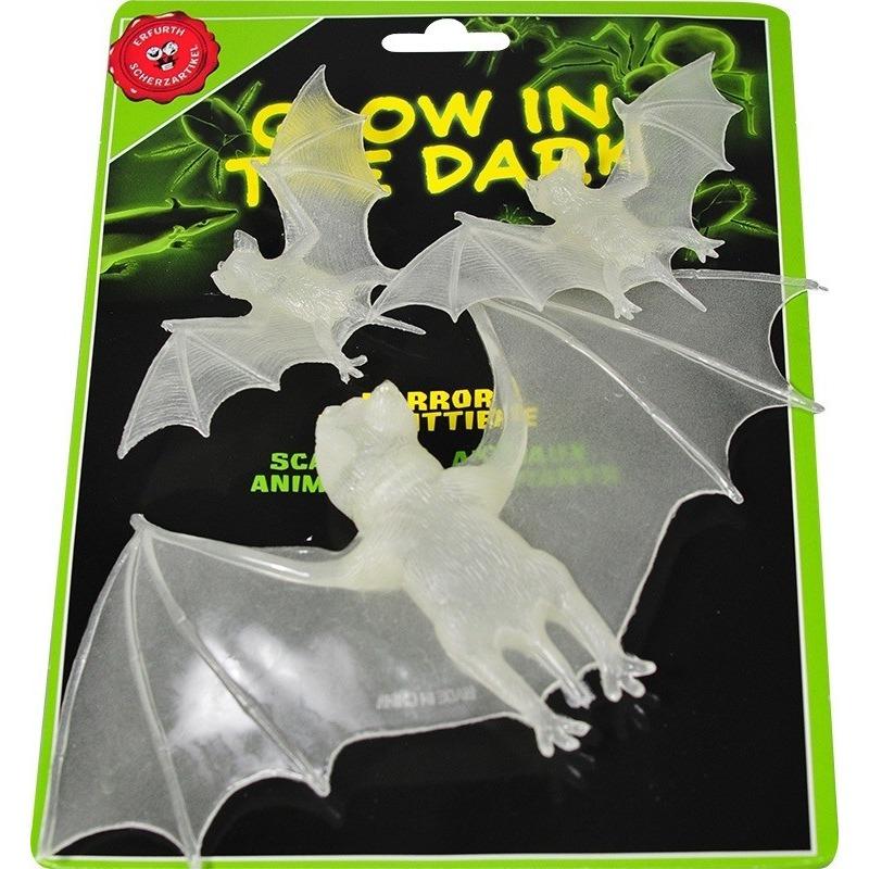 3x Glow in de dark halloween vleermuizen
