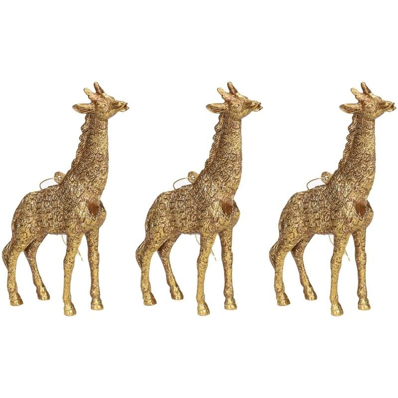 3x Gouden giraf kerstornamenten kersthangers 8 cm