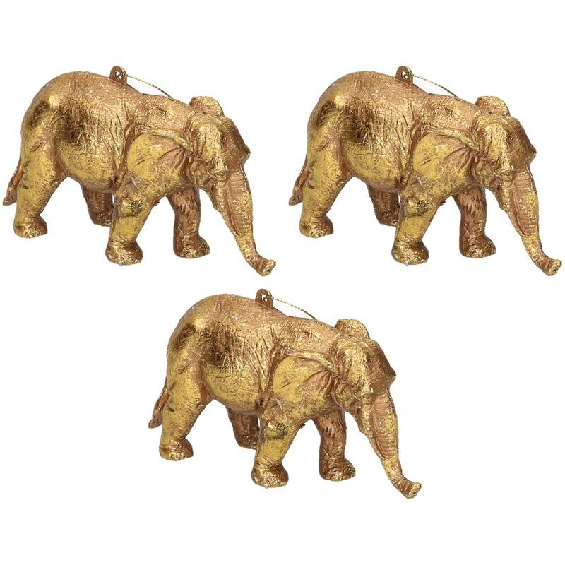 3x Gouden olifant kerstornamenten kersthangers 12 cm