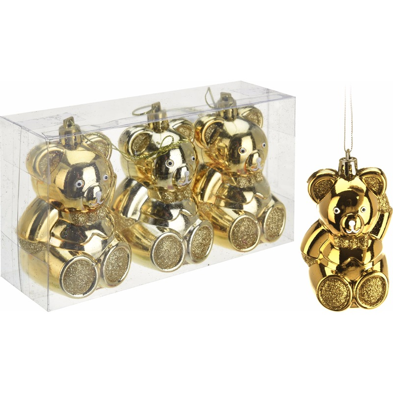 3x kerstornamenten gouden beertjes hangertjes 5 cm