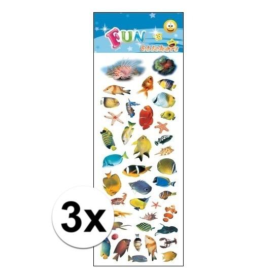 3x Kinder tropische vissen stickers