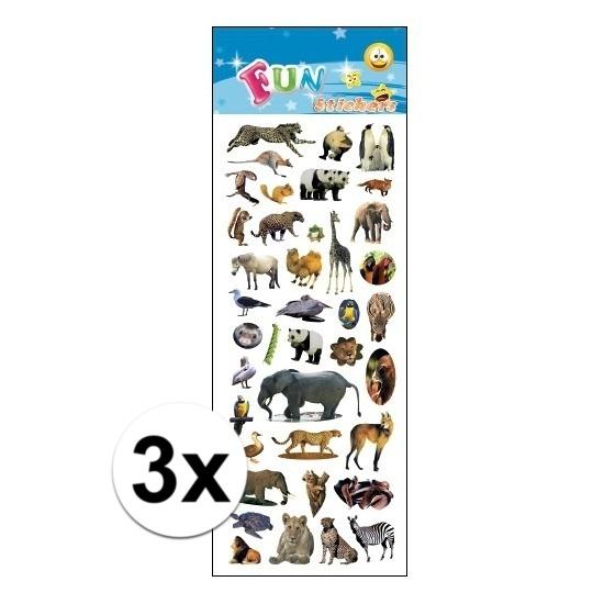 3x Kinder verschillende dieren stickers