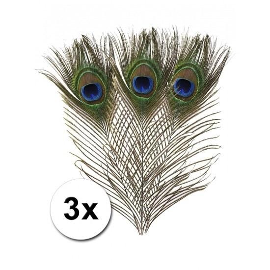 3x Pauwenveren sierveren 25 cm